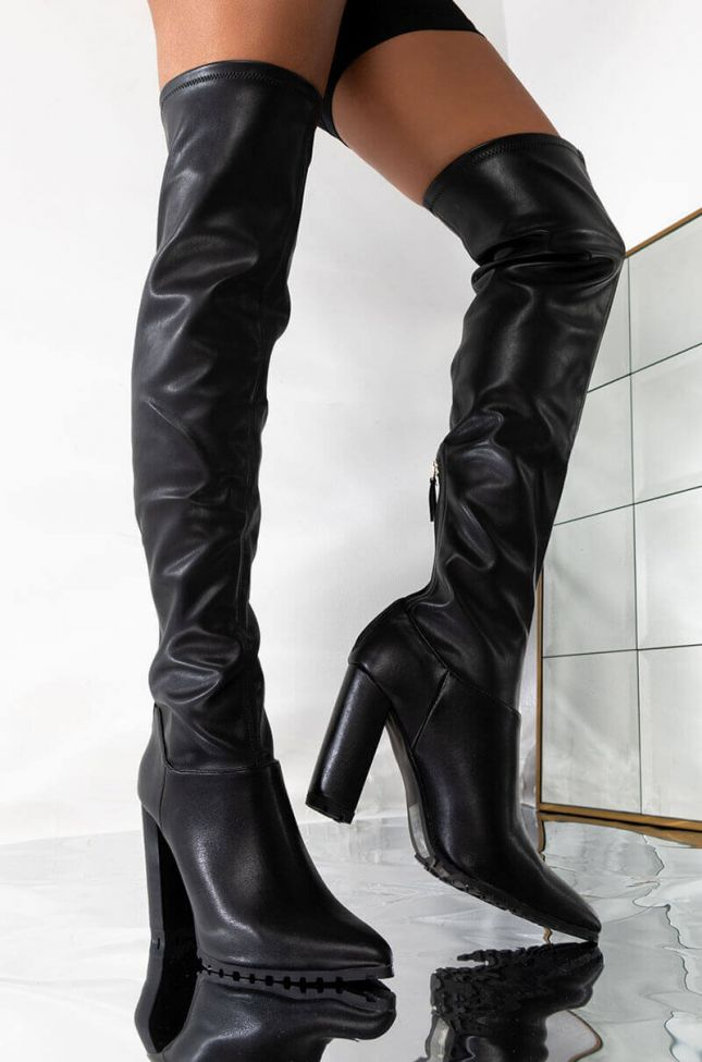 NEED YOU HERE FAUX LEATHER OVER THE KNEE BOOT