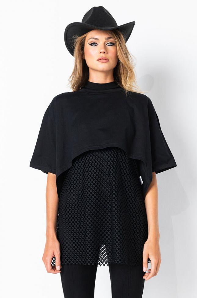 Front View Net Detail Hi Lo Tshirt Dress in Black