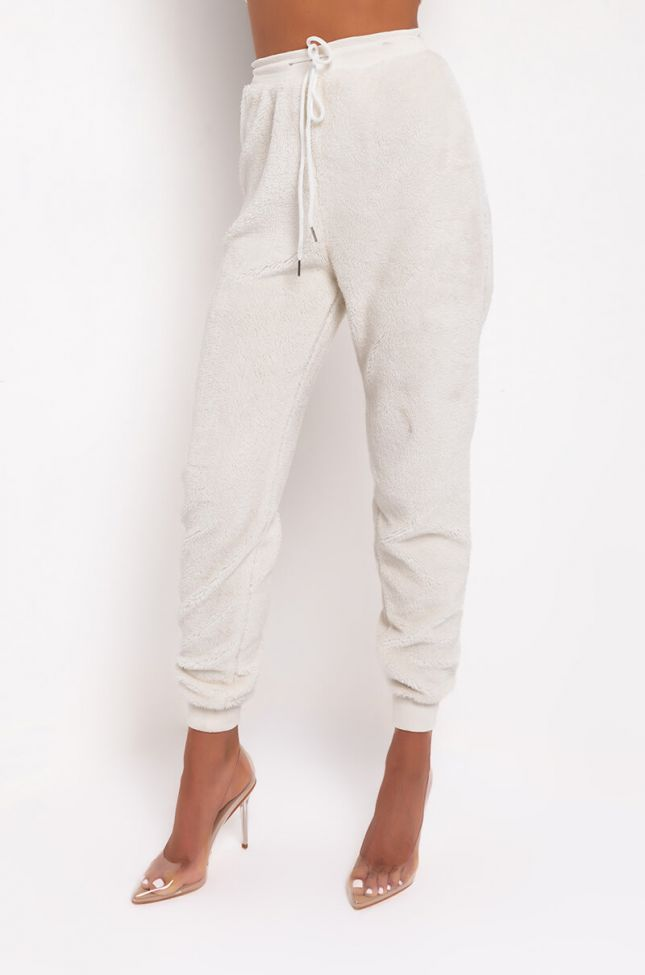Front View Netflix With Thrills Soft Teddy Joggers in Ivory
