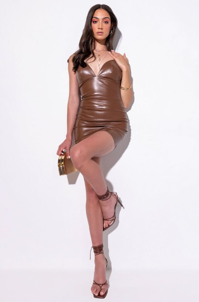 Extra View Never A Basic Bitch Mini Faux Leather Dress