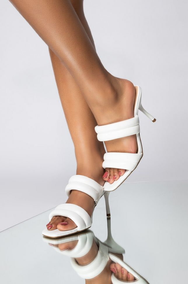 Front View Never Be The Same Stiletto Sandal in White