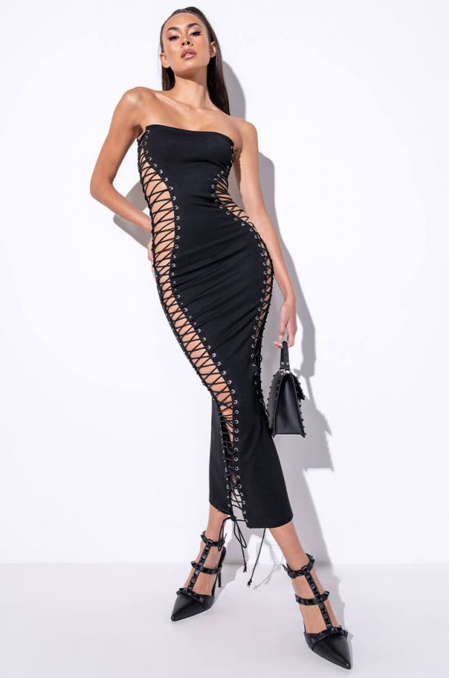 Front View Never Boring Lace Up Midi Dress