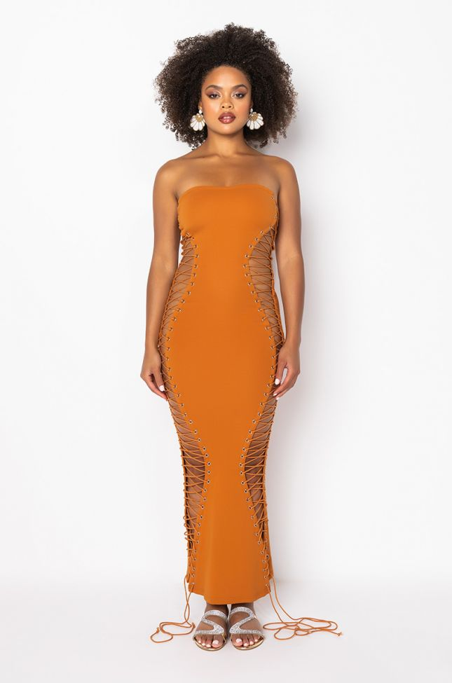 Front View Never Boring Lace Up Midi Dress in Orange