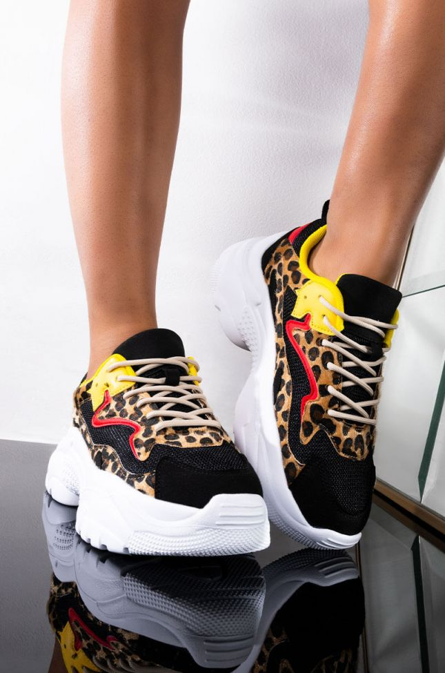 Front View Never Call Back Sneaker in Leopard