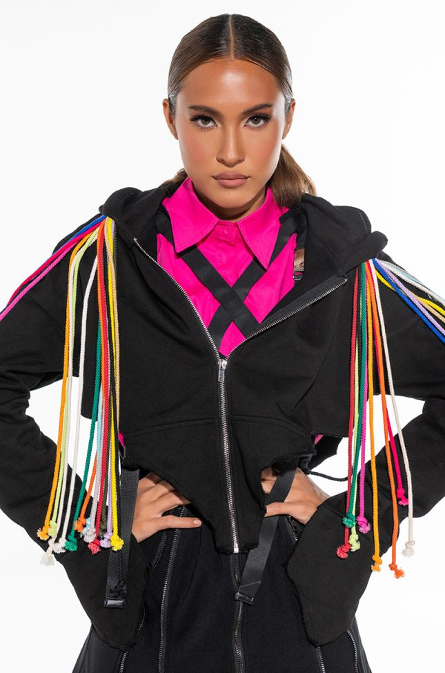 NEVER ENOUGH MULTI COLOR STRING HOODIE