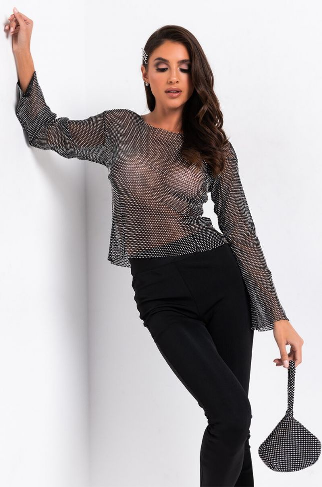 Front View Never Enough Rhinestone Mesh Top in Black