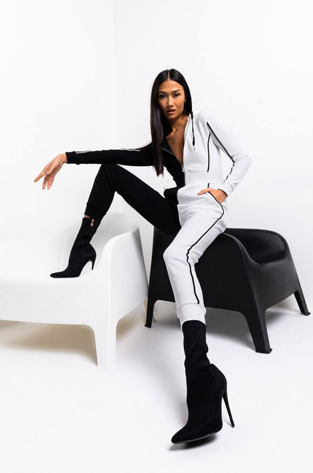 Front View Never Flip Sides Long Sleeve Front Zip Jumpsuit in White Black