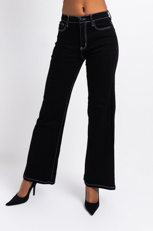 Front View Never Letting Go High Waisted Wide Leg Jeans in Black