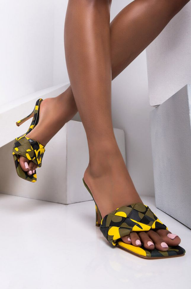 Front View Never Reach My Level Stiletto Sandal in Yellow