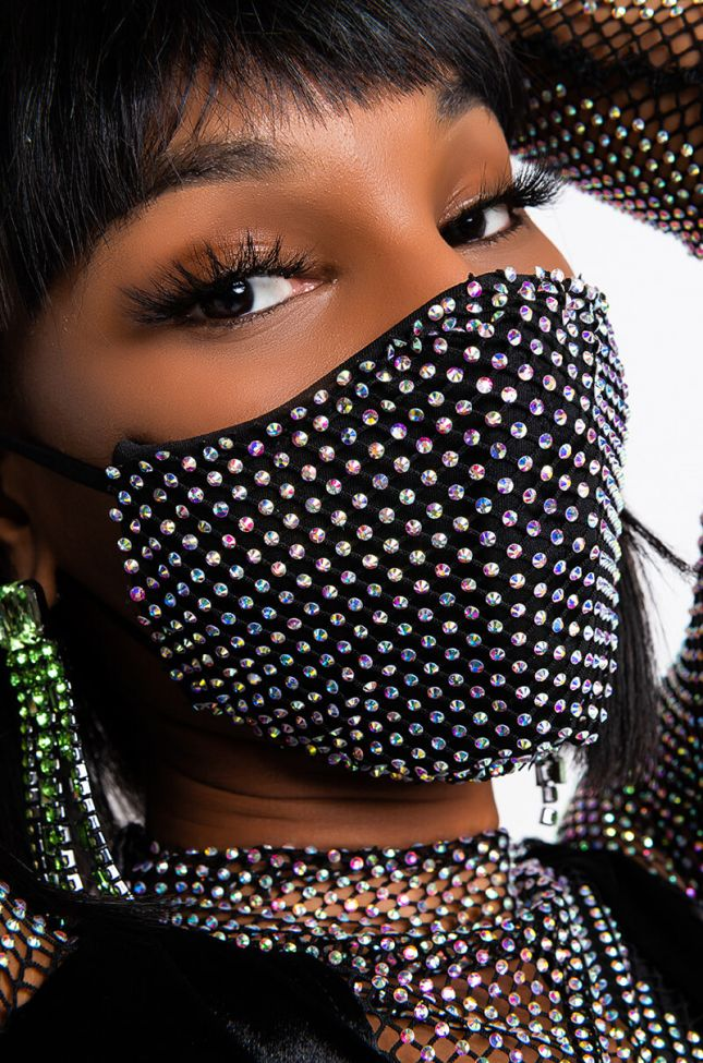 Back View New Normal Bling Fashion Face Cover in Black Silver