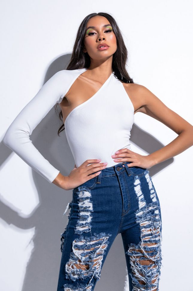 Front View New To You Paxton One Sleeve Bodysuit