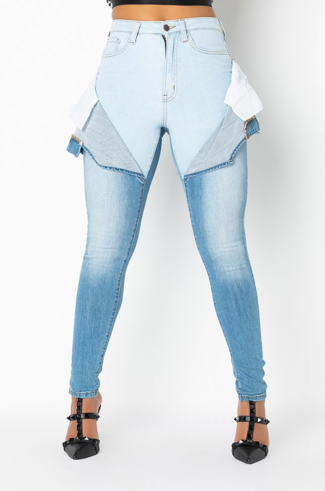 Front View New Version Of Me High Waisted Skinny Jeans in Light Blue Denim