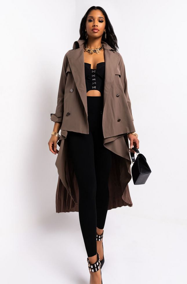 Side View Nice And Slow Pleat Belted Trench in Brown