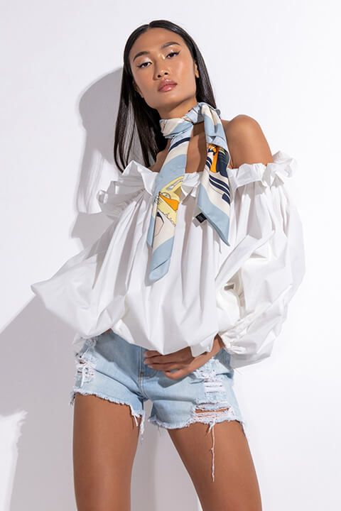 Front View Nice To Meet Me Off The Shoulders Bubble Blouse