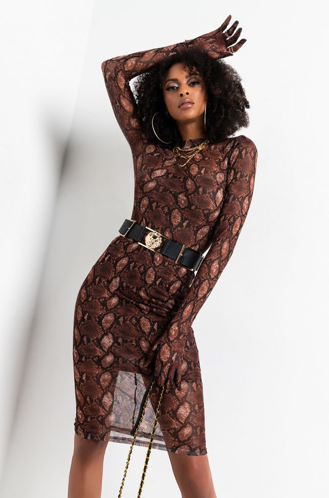 Front View Night Moves Mesh Snake Dress With Gloves in Brown Multi