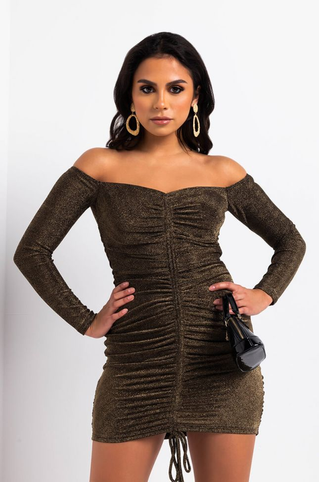 Front View Night Out Metallic Mini Dress in Brown