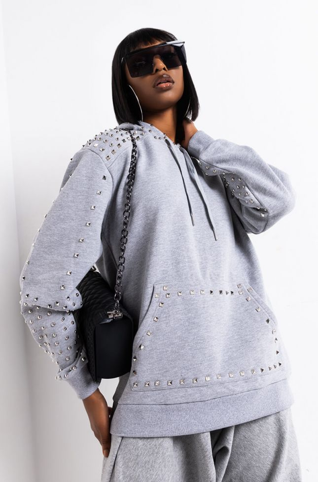 Front View No Angel Oversized Studded Hoodie in Heather Grey