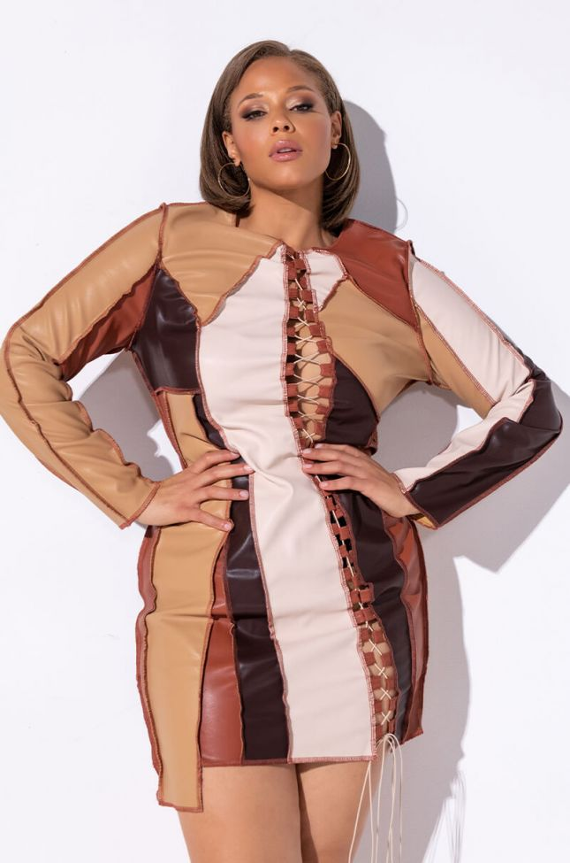 Front View No Bad Days Faux Leather Patchwork Midi Dress in Brown Multi