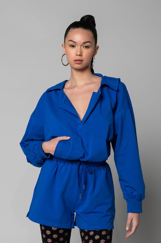 Front View No Bad Days Long Sleeve Romper With Hoodie in Royal Blue