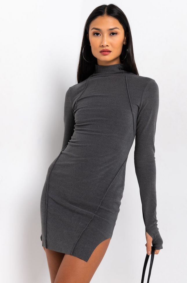 Front View No Boundaries Ultra Comfy Square Hem Mini Dress in Heather Grey