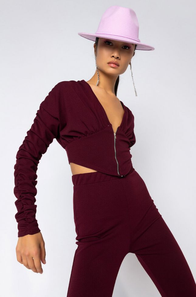 Front View No Diggity No Doubt Ruched Long Sleeve Top in Burgundy