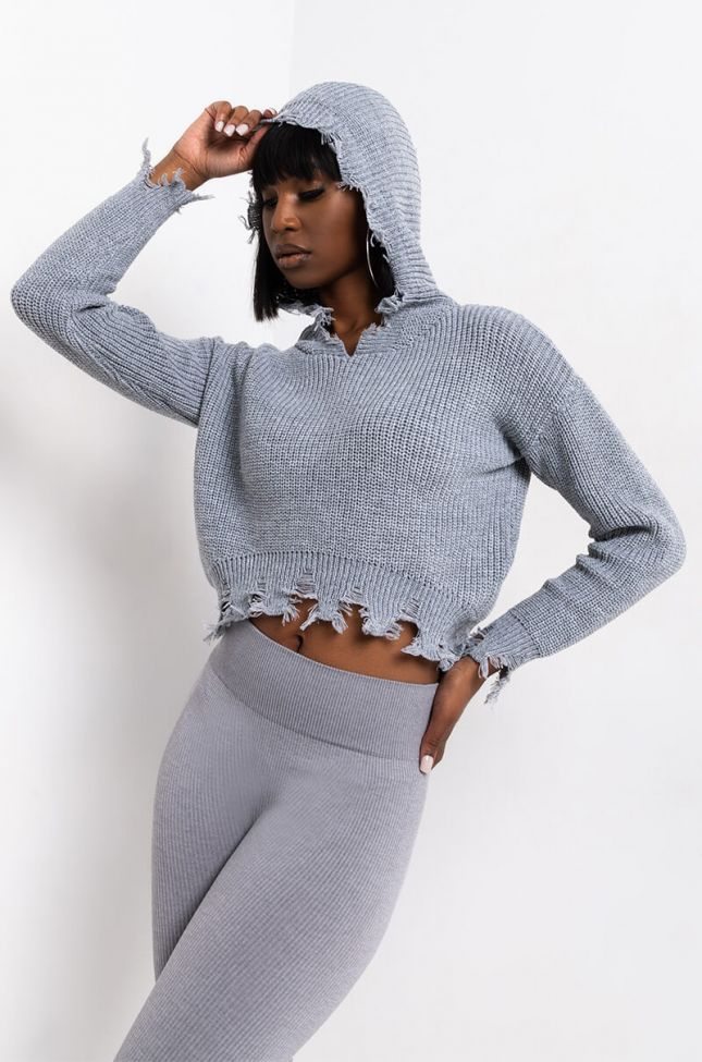 Side View No Jokes Hooded Sweater in Heather Grey
