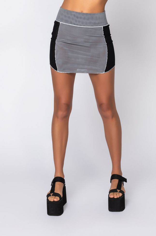 Front View No More Lies Mesh Mini Skirt in Grey Multi