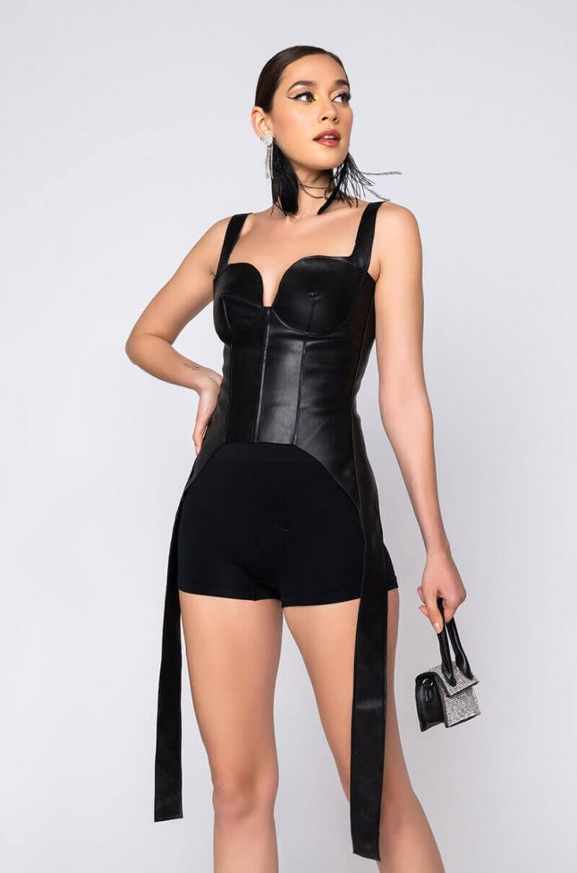 Front View No New Friends Vegan Leather Corset in Black