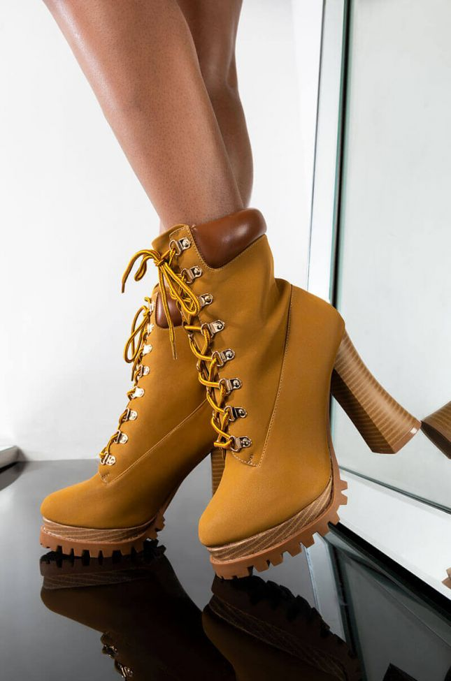 NO ONE COMPARES CHUNKY LACE UP BOOTIE
