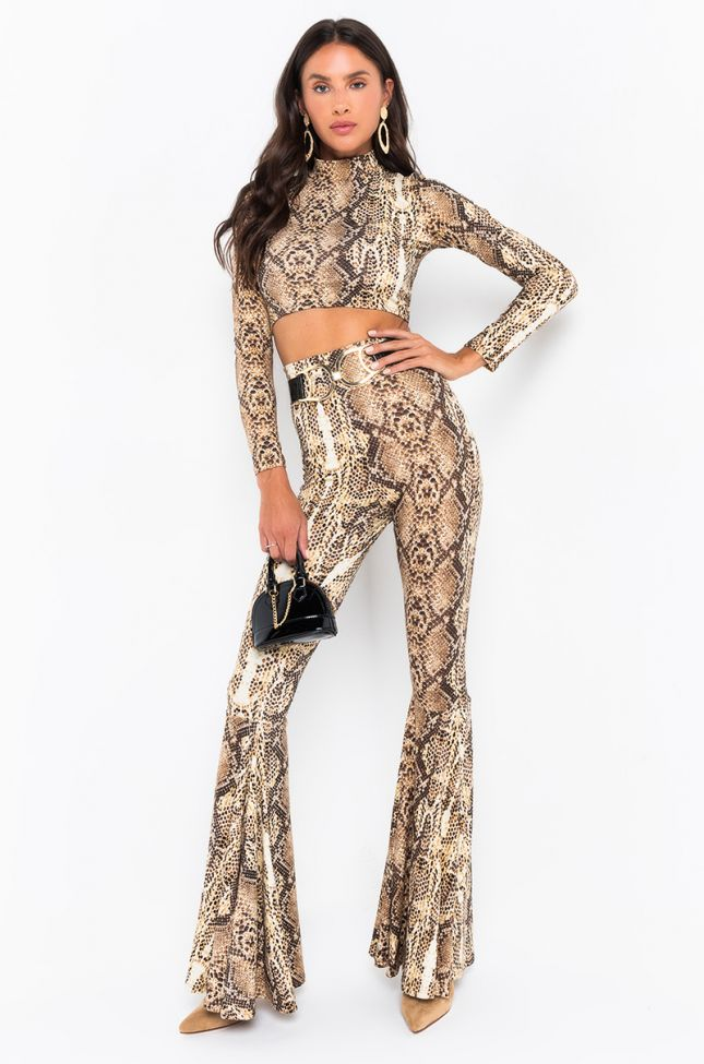 Front View No Pressure Long Sleeve Mock Neck Snake Top in Brown Multi
