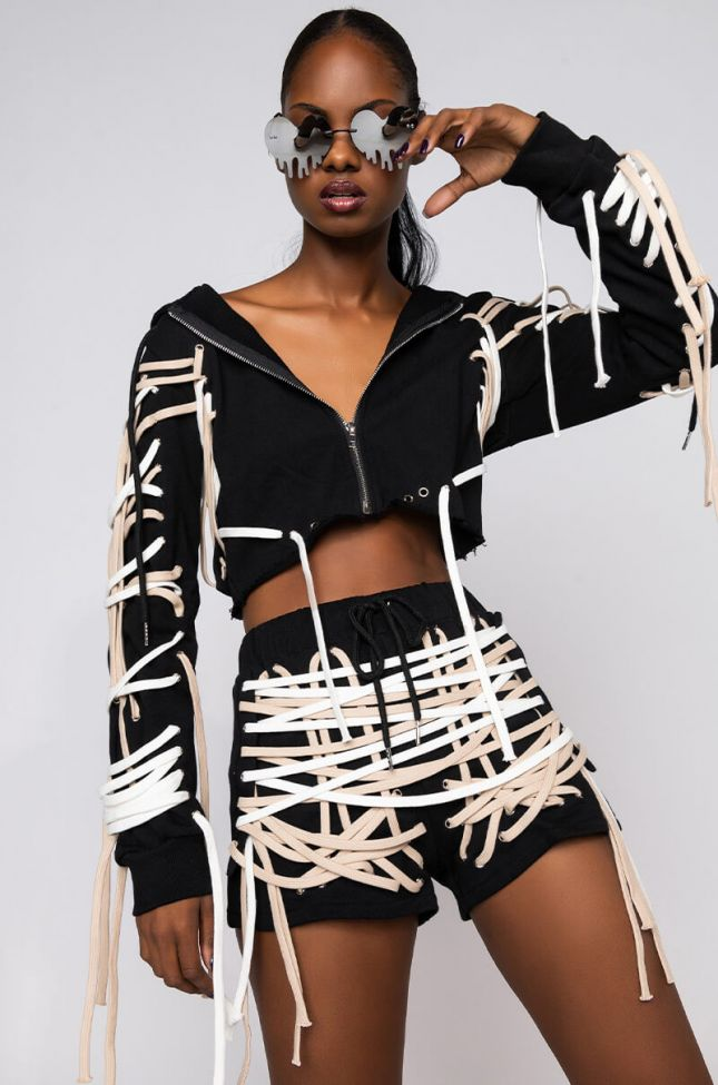 Front View No Rush Crop Lace Up Sweater in Black White