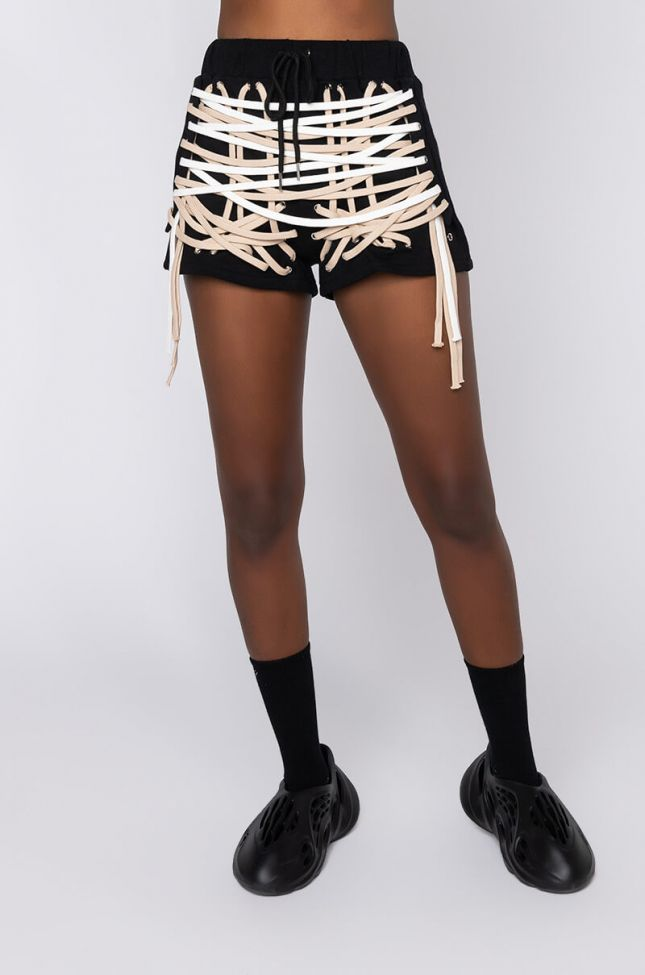 Front View No Rush Lace Up Shorts in Black White