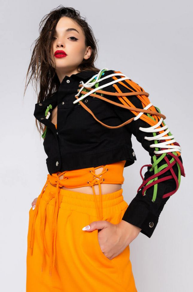 Front View No Rushing Lace Up Detail Jacket in Black Multi