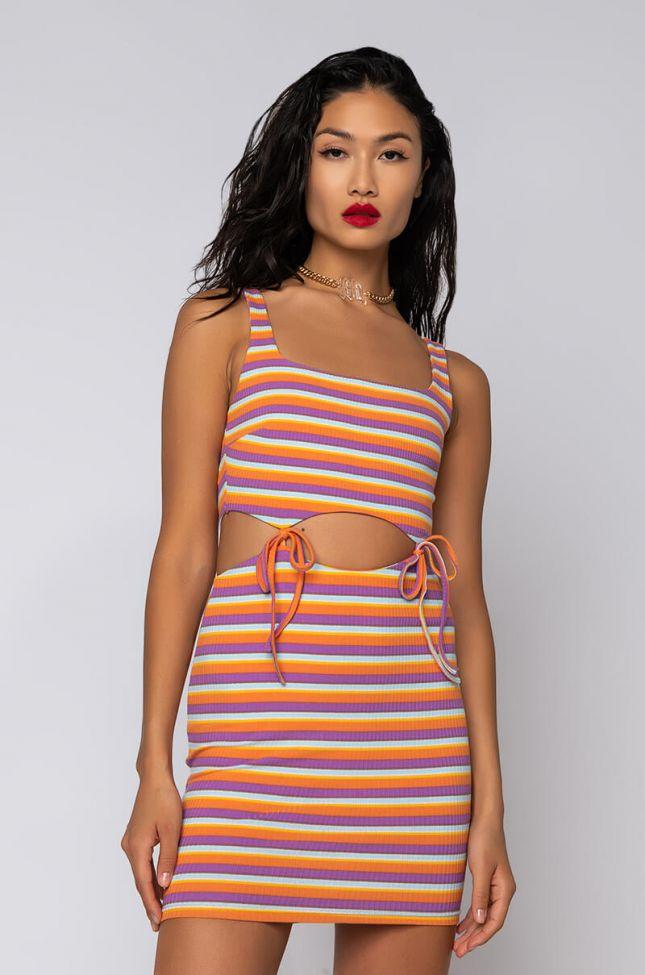 Side View No Stress Mini Cut Out Multi Stripe Dress in Orange Multi