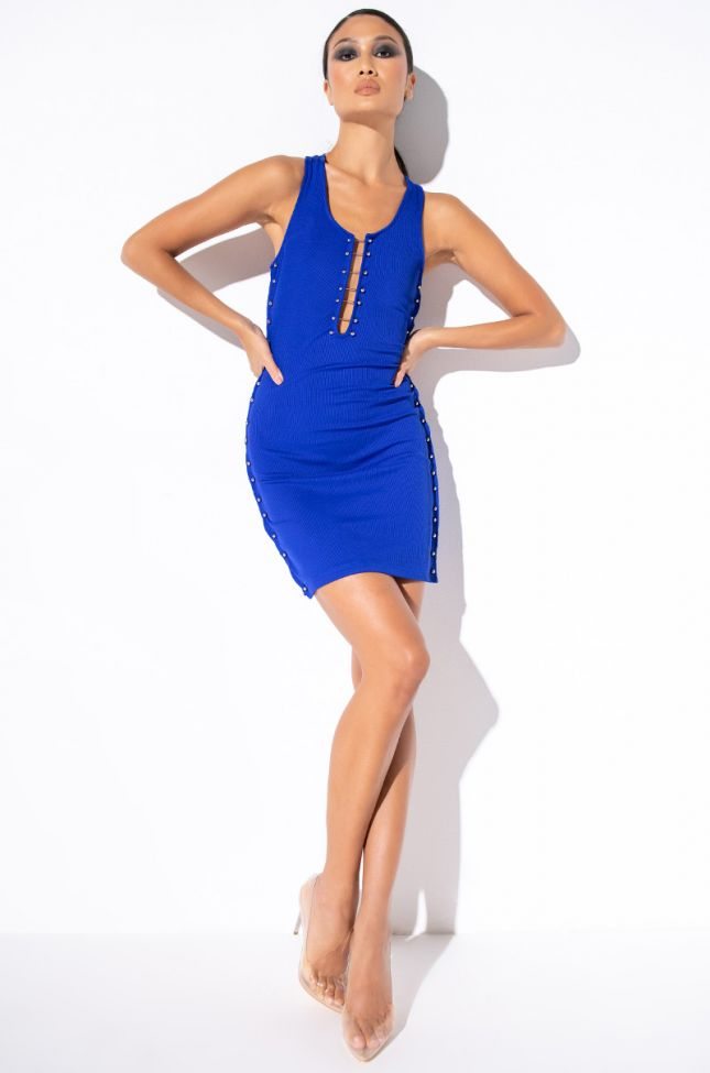 No Thanks Mini Dress With Detail in Neon Blue