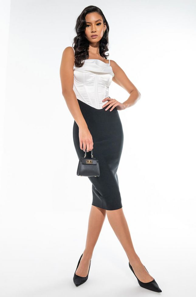 NO TIME BANDAGE MIDI DRESS WITH ATTACHED SATIN CORSET