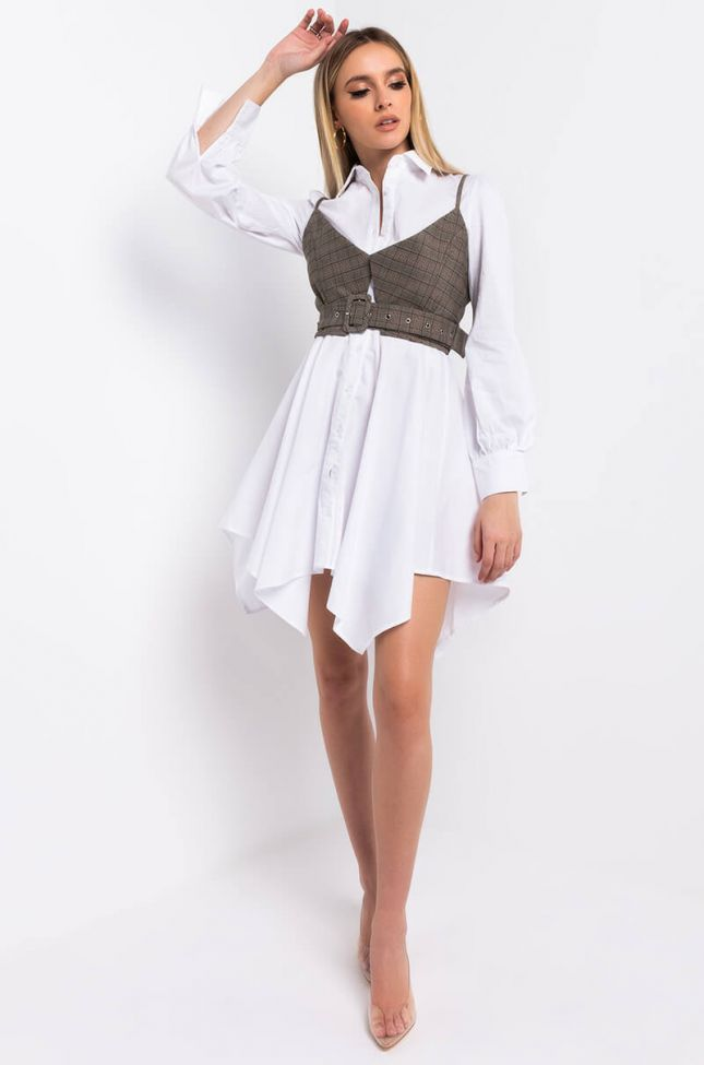 Full View No Worries Mini Button Up Dress With Attached Tank in White Multi