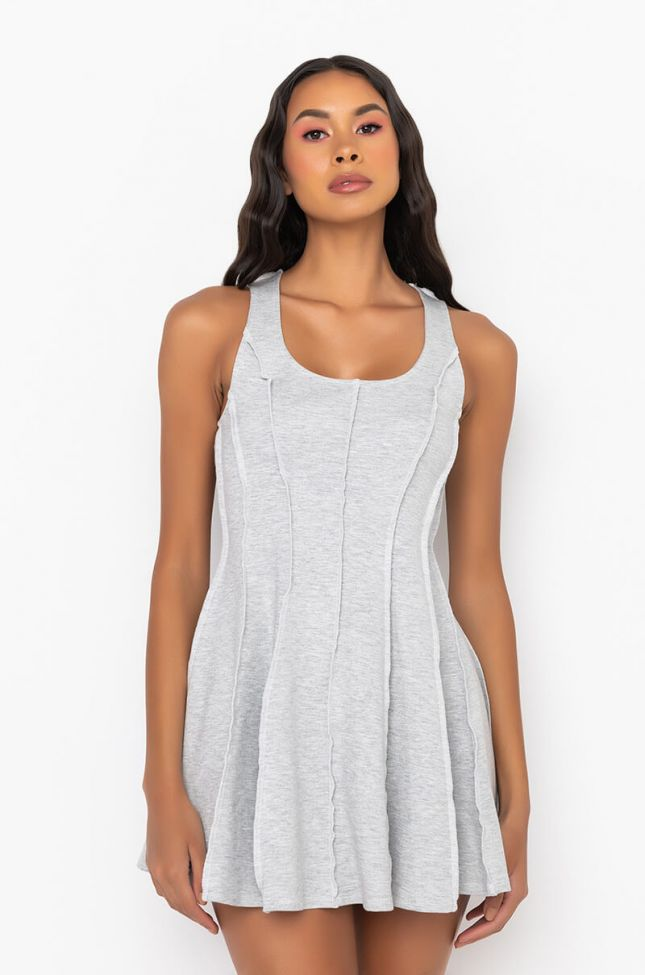 Front View Not Again Inverted Seam Mini Dress in Heather Grey