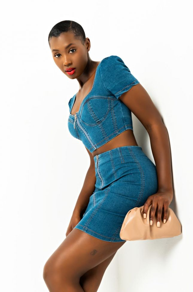 Front View Not In That Way Denim Mini Skirt in Blue