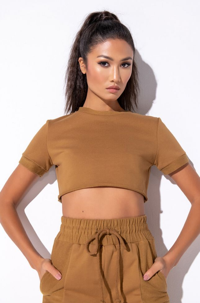 Front View Not So Casual Crop Top in Light Brown