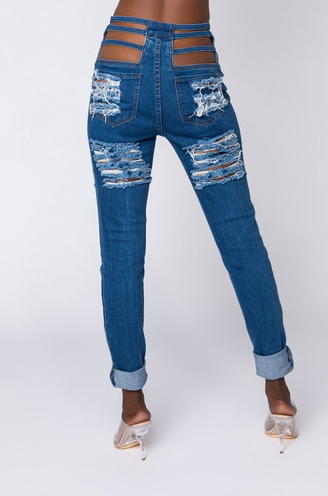 Back View Not So Common Distressed Skinny Jeans in Medium Blue Denim