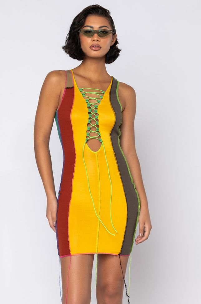 Front View Not Staying In Color Block Mini Dress in Green Multi