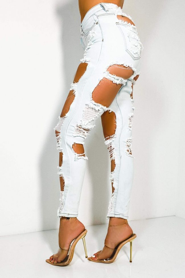 Side View Not Stress At All High Rise Distress Skinny Jeans in Light Blue Denim