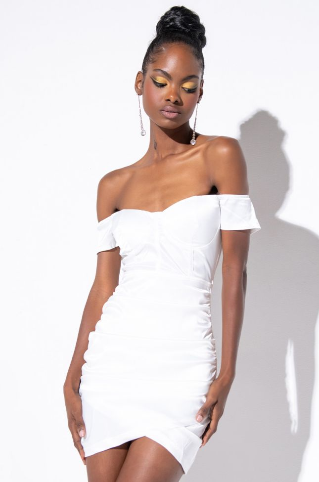 Front View Not Today Honayyy Mini Off The Shoulders Dress in White