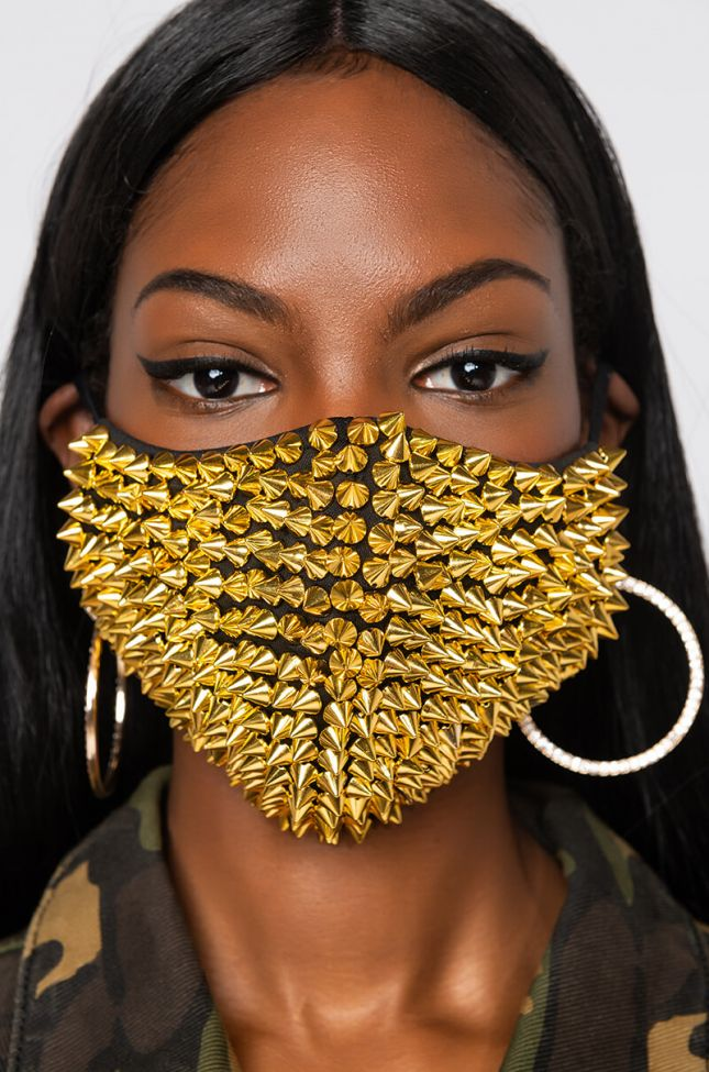Front View Not Today Rona Gold Spike Fashion Face Cover in Black Gold
