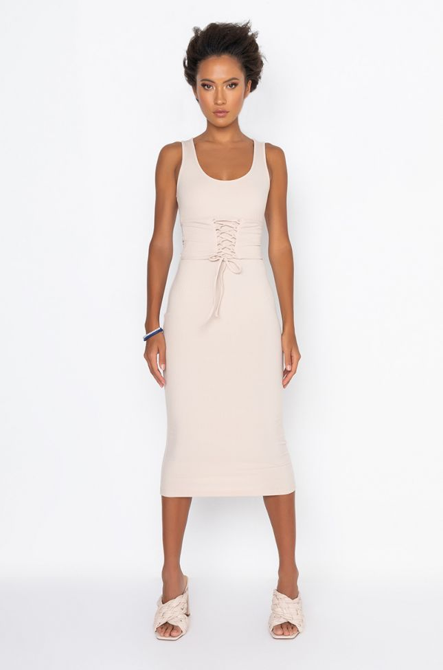 Front View Not Your Average Midi Dress With Attached Corset in Nude