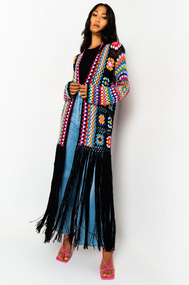 Front View Not Your Grandmas Long Sleeve Knit Cardigan in Black Multi