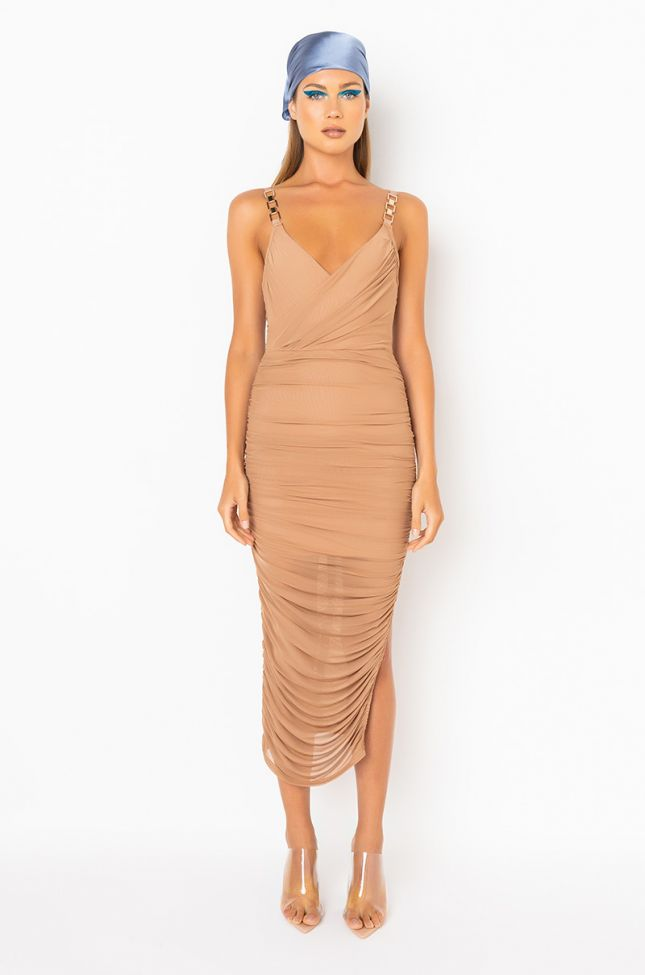 Front View Nothing But The Best Midi Dress in Dark Brown