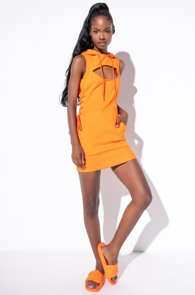 Nothing New Mini Dress With Hoodie in Orange