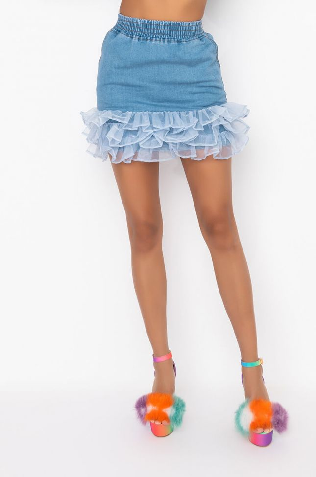 Front View Nothing To Lose Denim Skirt in Light Denim